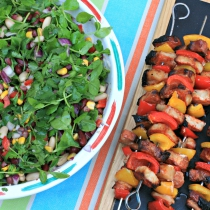 BBQ Pork & Pepper Kebabs & Tangy Mixed Bean Salad